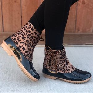 Leopard Print Side Laced Duck Boots